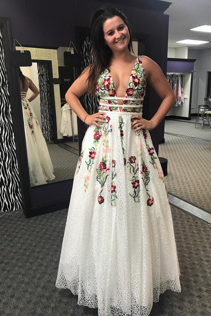 7e4ccca2605f6 Princess V Neck Floral Embroidery Long Prom by DestinyDress on Zibbet