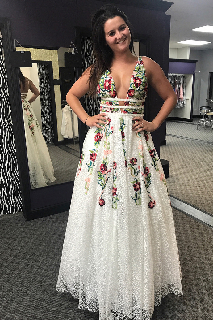 ab9f16d23e1 Princess V Neck Floral Embroidery Long Prom by DestinyDress on Zibbet