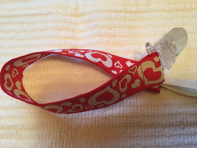 Pacifier clip holder red heart  plastic clip white hearts
