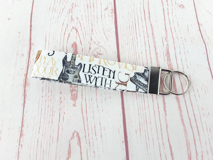 White and Gold Music Key Fob Wrist Strap