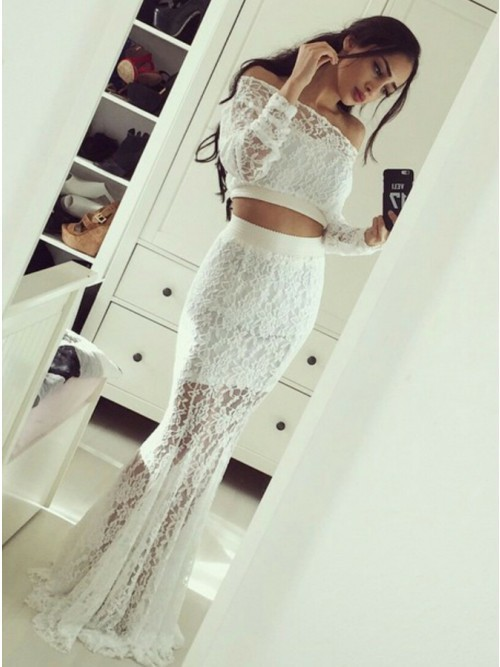c5095100e117 Two Piece Mermaid Off-the-Shoulder White Lace by PrettyLady on Zibbet