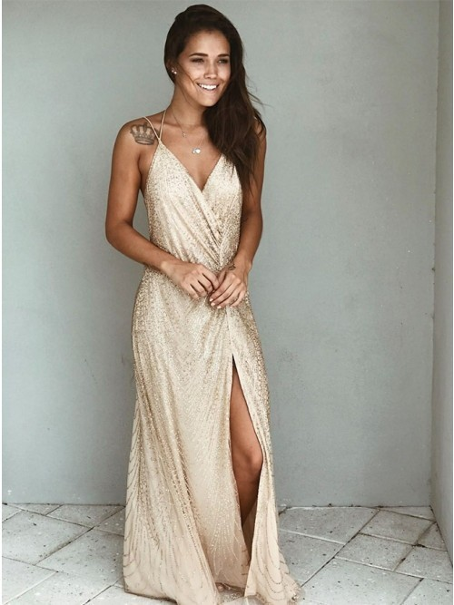 Long Champagne Dress