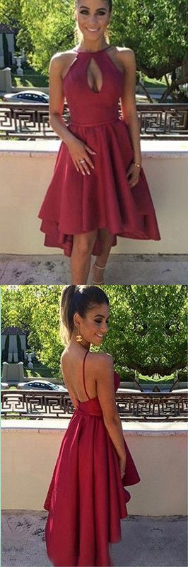 Sexy A-Line Short Prom Dress, Red Cocktail Dress, Backless Homecoming Dress