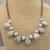 Dove Grey Crystal Pearls and Opaque Green Czech Glass Drop Brass Handmade