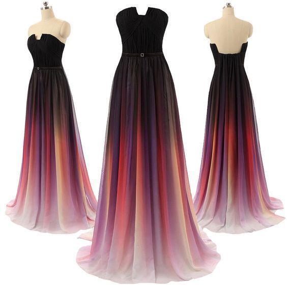 Charming Prom Dress, Sexy Prom Dress, Gradient Color Chiffon Long Prom Dress