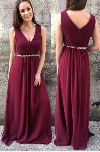 Elegant A-Line V-Neck Prom Dresses,Long Prom Dresses,Cheap Prom Dresses, Evening