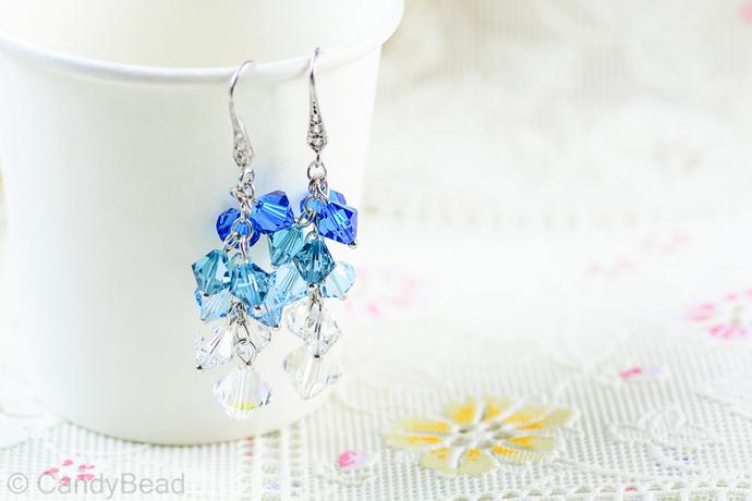 Swarovski earrings;crystal earrings; Blue Aquamarine Swarovski Crystal by