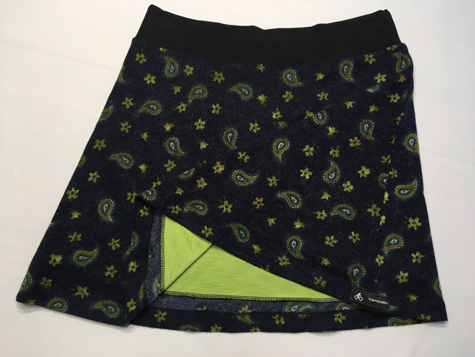 Deep Blue with Acid Green Print Skirt Made of Soft Knit Fabric Fully Lined