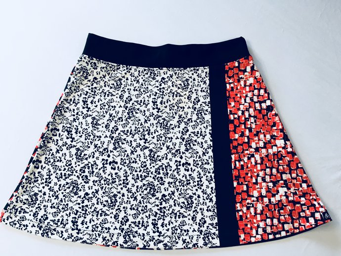 Red/Black/White Multi Print Light Weight Skirt Silky Fabric with Hidden