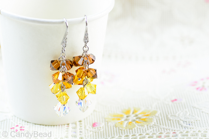 Swarovski earrings;crystal earrings; Light Topaz Swarovski Crystal by CandyBead