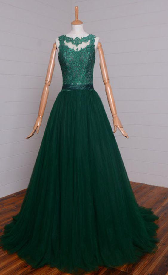 26bf7ba6e988 Elegant Beautiful Dark Green Tulle A-line Sleeveless Formal Long Prom  Dresses