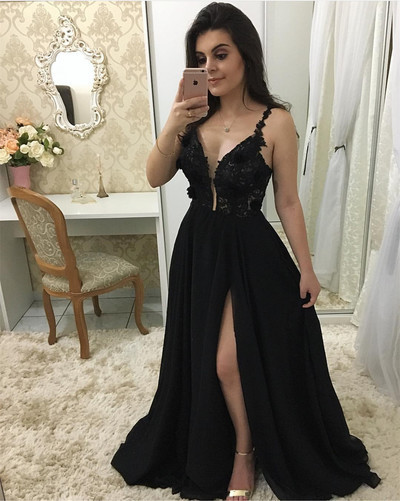 Plunging Neck Black Prom Dress with Split, Sexy Black Evening Party Dress