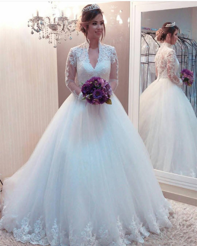 High Collar Wedding Dress Long Sleeves Tulle Appliques Bridal Gowns