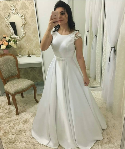 Sheer Cap Sleeves Satin Wedding Dress with V Back Bridal Gown