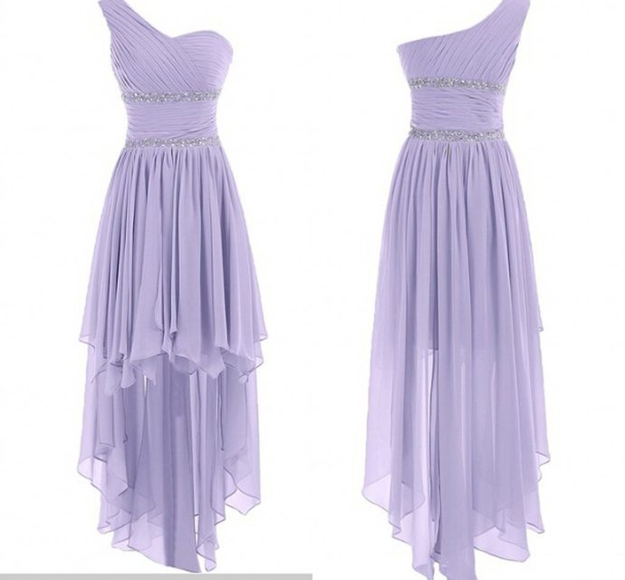 Cute One Shoulder High Low Lavender Chiffon Sweetheart Prom Dress, Bridesmaid