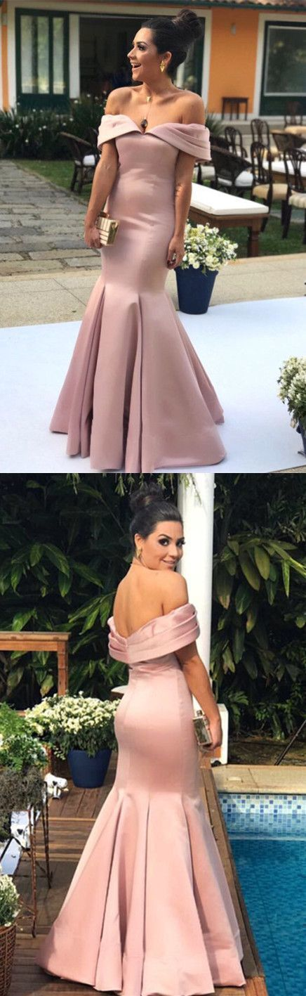 c93fd4459f Nude Pink Satin Mermaid Prom Dresses V-neck Off Shoulder Evening Gowns