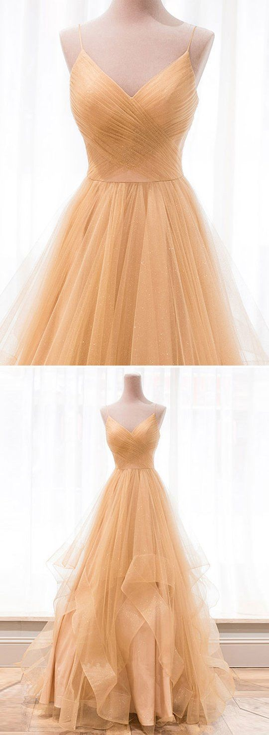 Tulle A Line Prom Dress, Sexy Spaghetti Straps Long Evening Dress, Prom Dresses