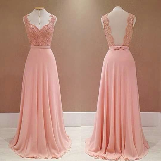 Elegant A Line Prom Dress, Sexy Appliques Long Evening Dress, Chiffon Homecoming