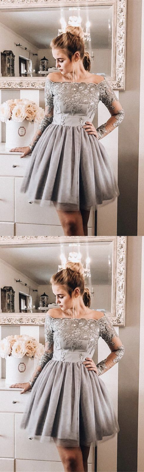 Cute Tulle Short Lace Homecoming Dress with Long Sleeve