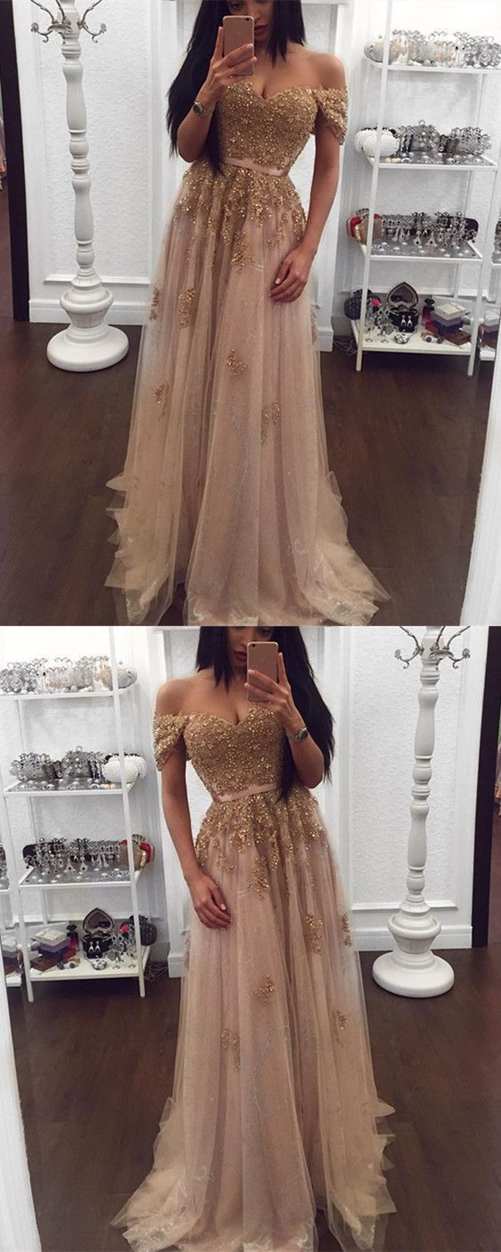 Charming A Line Prom Dress, Sexy Appliques Long Evening Dress, Champagne Tulle