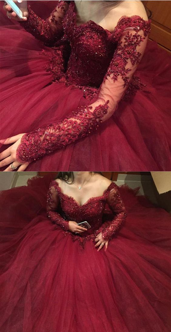 Burgundy Long Sleeves Quinceanera Dress Sweet Prom Dresses