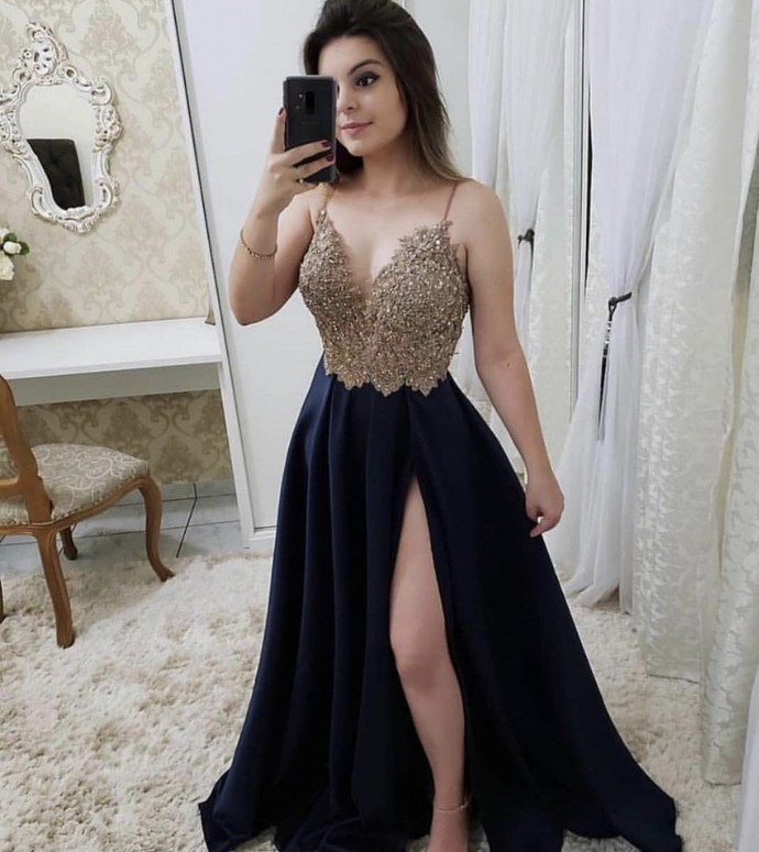 Charming A Line Prom Dress, Sexy Appliques Beads Long Evening Dress with Split