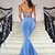 Mermaid Two-pieces Halter Sexy Backless Blue Prom Dresses