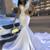 Trumpet/Mermaid White Prom Dress With Rhinestone Long Prom Dresses Evening Dress