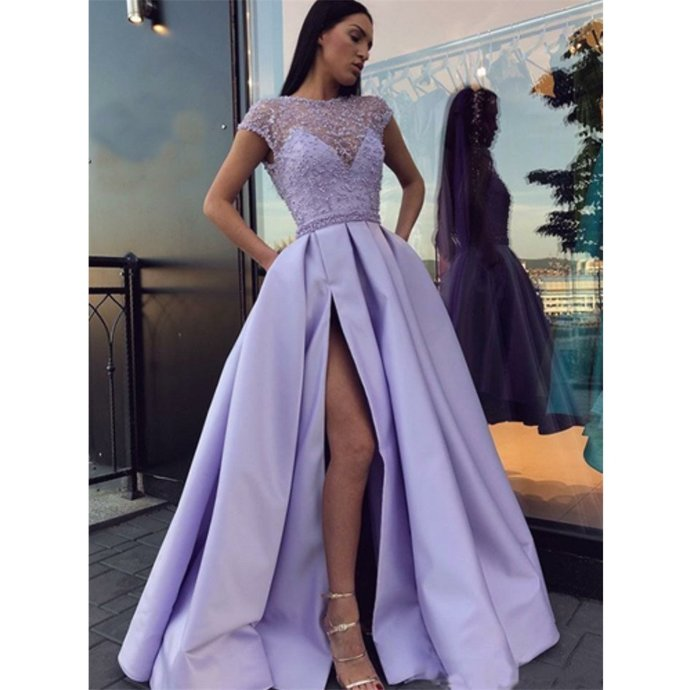 Charming Lavender Beading Cap Sleeves Long Prom Dresses