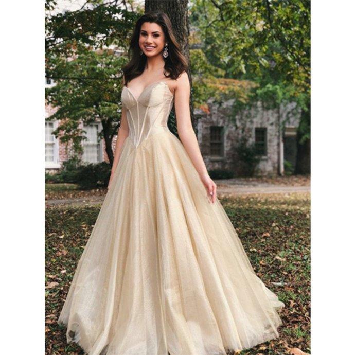 New Arrival Sweetheart Floor-length Long Tulle Prom Dresses