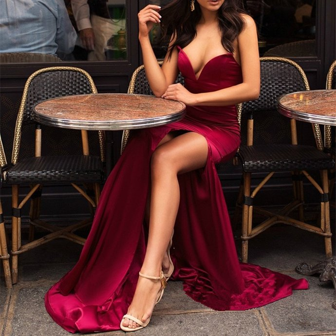 Newest Secy V-neck Strapless High Split Burgundy Prom Dresses