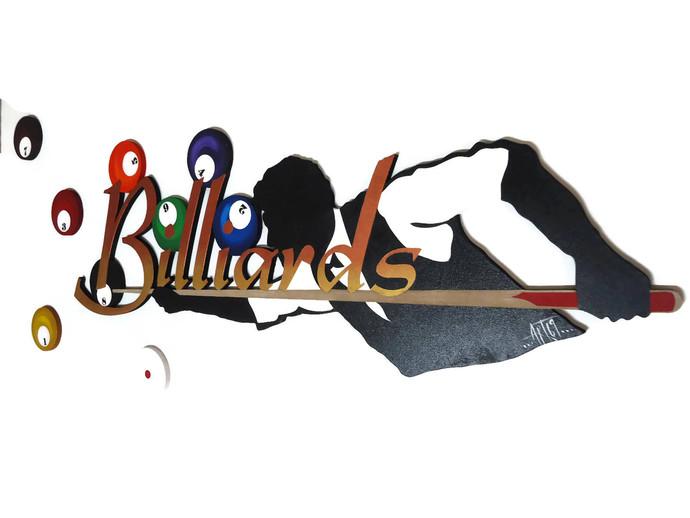 Man & Billiards Wood Wall Art Sculpture, Contemporary Billiards Wall Decor,