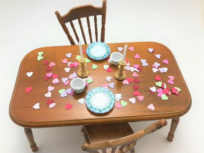 Dollhouse Confetti 1:12 scale Miniature Party Decor tiny hearts 200 Hearts