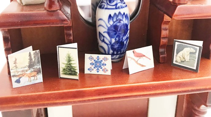 Christmas Cards for the Dollhouse 1:12 scale Set of 5 Cards