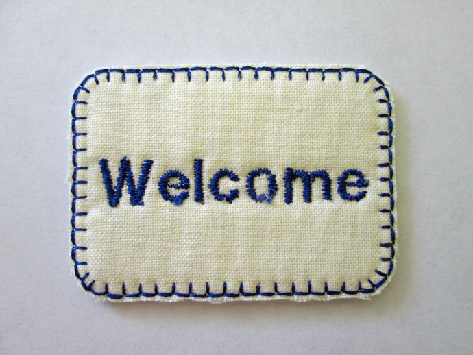 Dollhouse Welcome Mat one inch scale Blue lettering