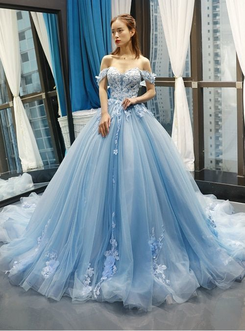 Blue Ball Gown Tulle Appliques Off The Shoulder Backless Sweet 16 Prom Dresses