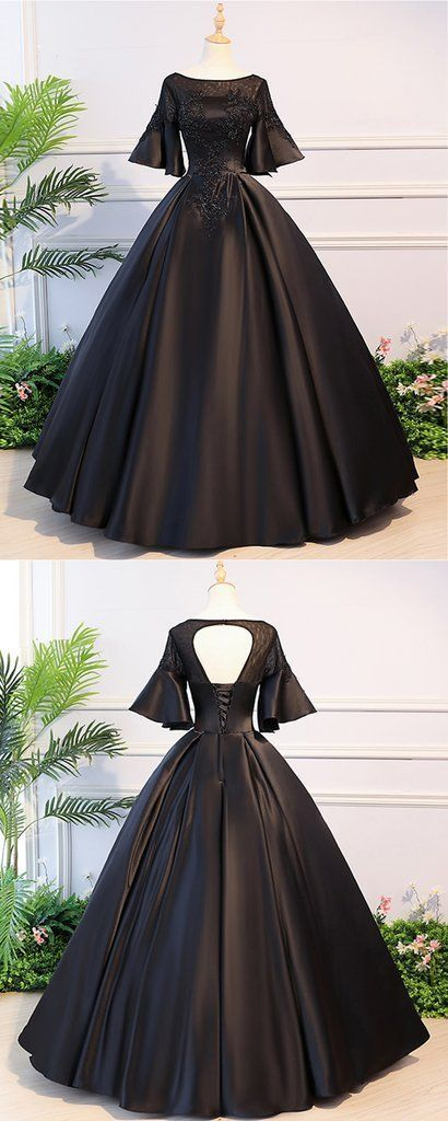 Black Satin Open Back Mid Sleeve Long Applique Evening Dress, Prom Dress