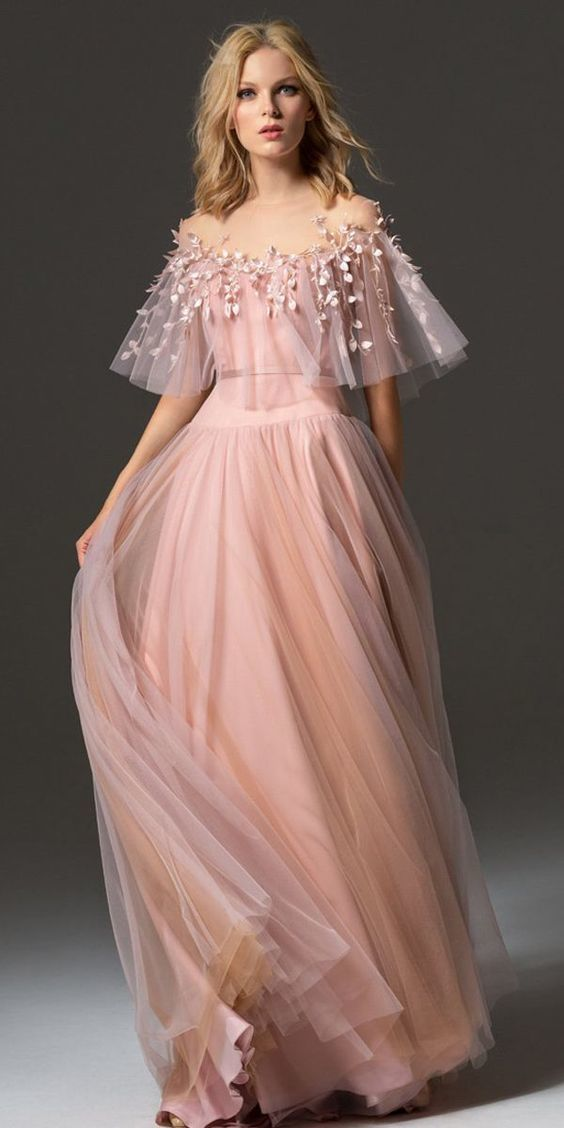 Romantic Tulle Jewel Neckline Bell Sleeves A-line Prom Dress With Handmade