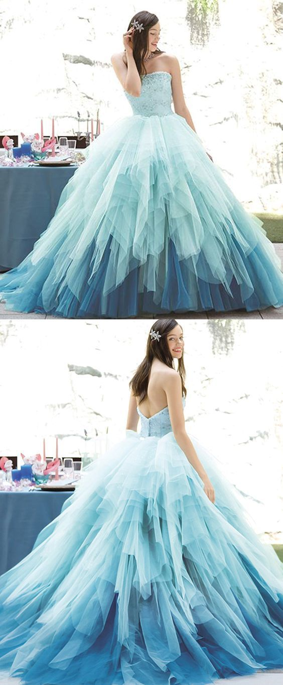Fashionable Tulle Strapless Neckline Ball Gown Quinceanera Dress With Beadings &