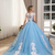 Princess Ball Gown Prom Dresses Light Blue Sheer Neck Lace Appliqued Flower
