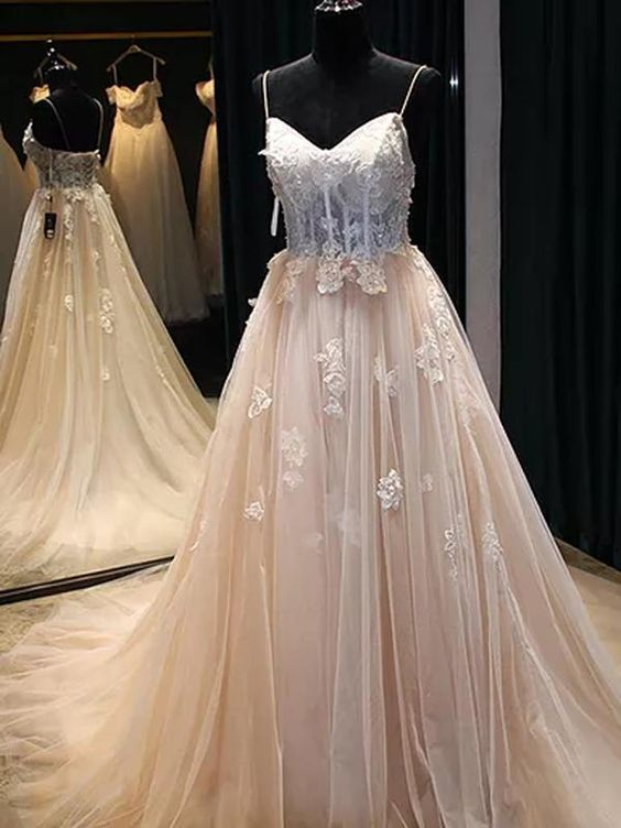 Sexy Prom Dress Spaghetti Straps Brush Train Appliques Beading Prom