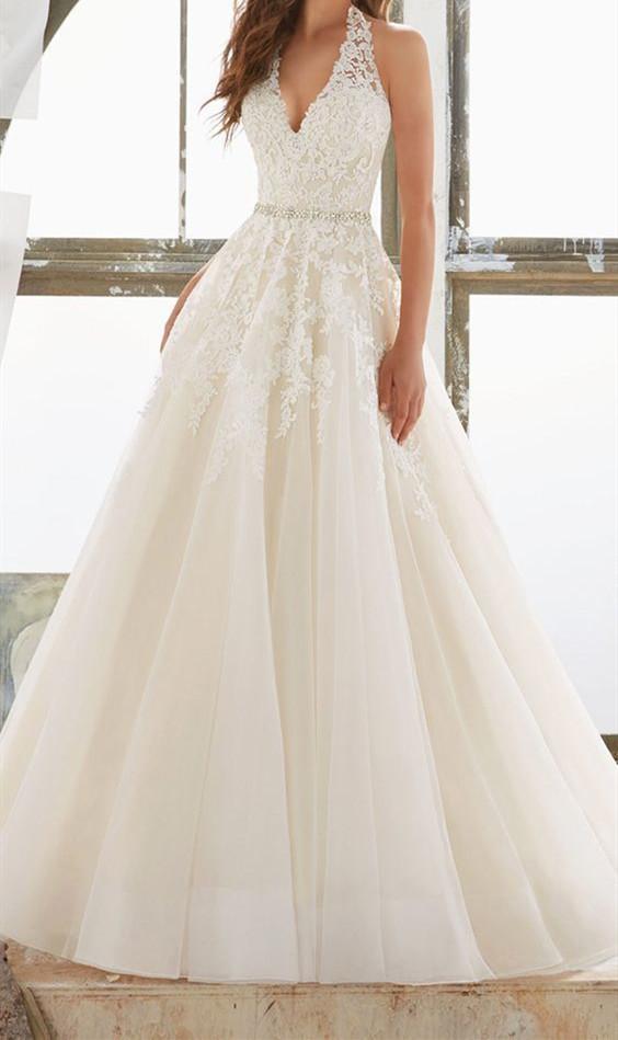 a8d26304d39 Charming Tulle White Halter Wedding Dress