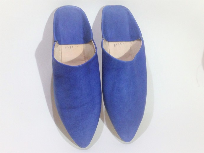 75ff7c2eb84 bleu leather slippers moroccan babouche by craftsman jamal on Zibbet