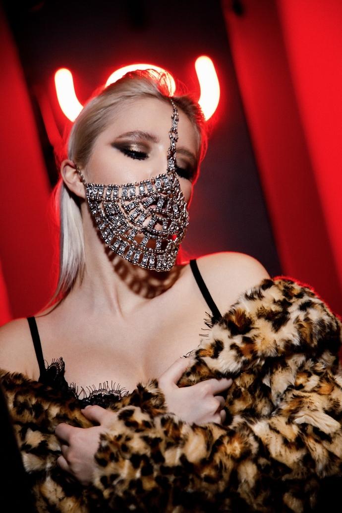 Face Mask Yasmin, Metal Face Jewelry