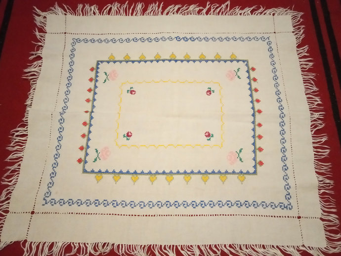 Table Runner Small Table Centerpiece, Woven Cotton Table Cover, Embroidered