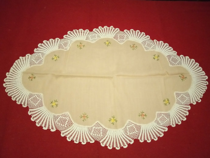 Oval Table Runner, Oval Table Topper, Handmade And Vintage Oval Table Runner