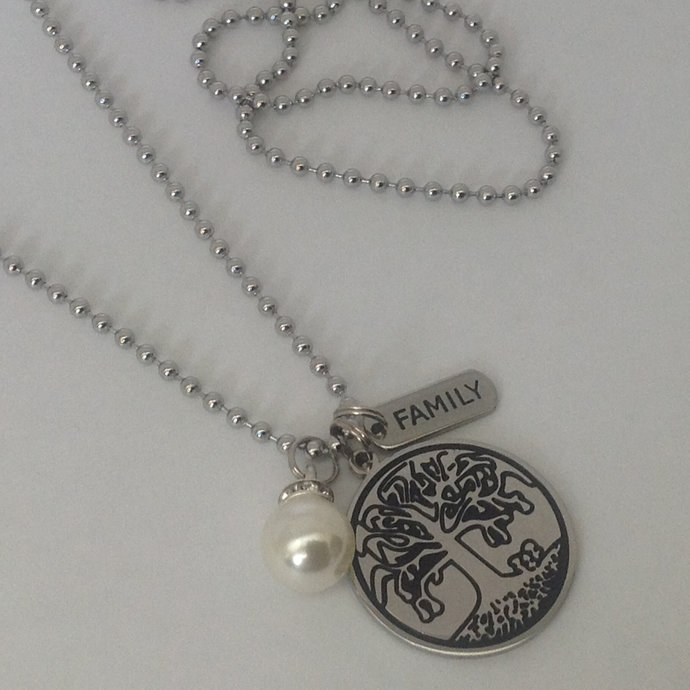 Tree of Life Necklace, Stainless Necklace, Tree of Life Charm, Family Charm,