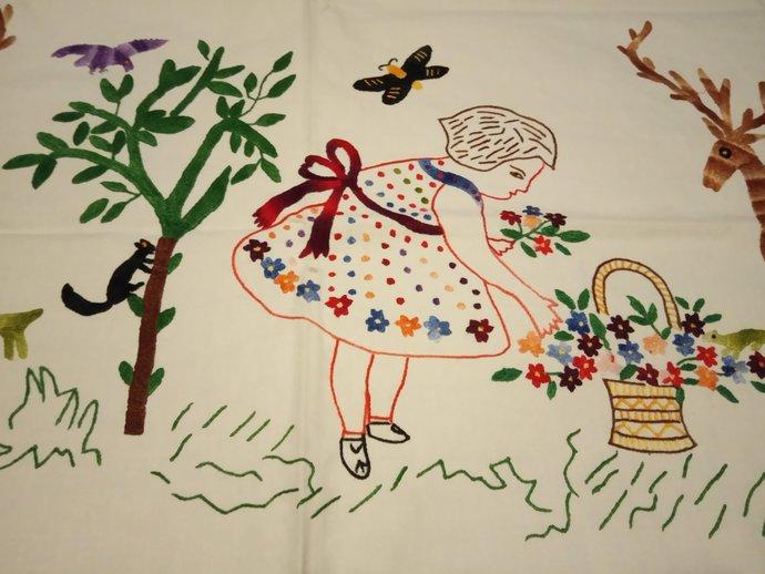 Tapestry Hand Embroidered, Handmade Vintage Tapestry, Vintage Table Runner