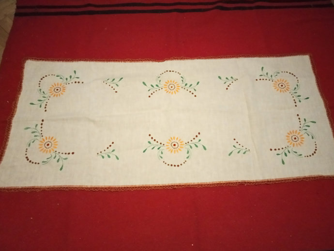 Linen Vintage Table Runner, Hand Embroidered, Floral Pattern, Extra Soft Linen