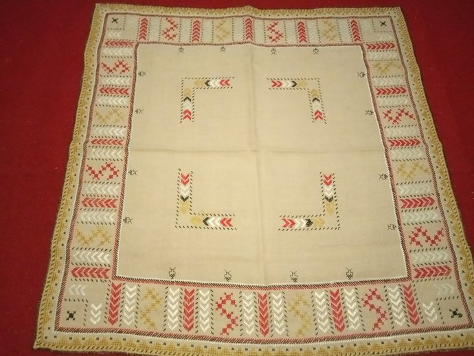 Table Scarf Beautiful Embroidery, Beige table Cover, hand Embroidered, Vintage